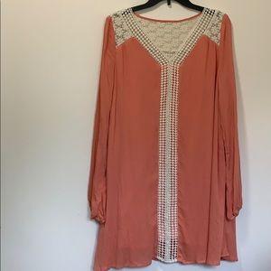 Entro Peach Cream Crochet Dress w/ Bubble …